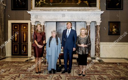 (l-r) Dutch Queen Maxima British Writer a S Byatt King Willem-alexander and Princess Beatrix Pose During the 'Erasmusprijs 2016' (erasmus Prize) Ceremony at the Royal Palace in Amsterdam the Netherlands 08 December 2016 the Jury Calls Byatt a Born Storyteller with a Keen Eye For Social Relations Netherlands Amsterdam