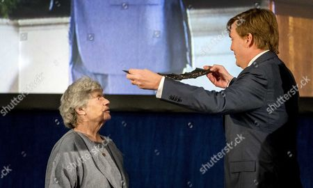 Stock Picture of British Writer a S Byatt (l) Receives the 'Erasmusprijs 2016' (erasmus Prize) From Dutch King Willem-alexander at the Royal Palace in Amsterdam the Netherlands 08 December 2016 the Jury Calls Byatt a Born Storyteller with a Keen Eye For Social Relations Netherlands Amsterdam
