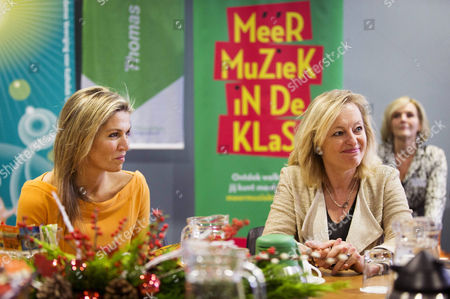 Dutch Queen Maxima (l) and Dutch Minister For Education Jet Bussemaker (r) Meet Staff During a Work Visit to the Teacher Training College Thomas More Hogeschool in Rotterdam the Netherlands 07 December 2016 the Queen Delivered a Speech on Recent Developments in Music Education at School Netherlands Rotterdam