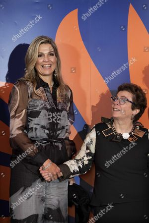 Stock Image of Dutch Queen Maxima (l) Presents the Prins Bernhard Cultuurfonds 2016 (prince Bernhard Culture Fund) Award to Peruvian-dutch Documentarian Heddy Honigmann (r) During an Award Ceremony in Amsterdam the Netherlands 02 December 2015 the 150 000 Euro Prize is Awarded Annually to Recognise Persons Or Institutions who Have Made Extraordinary Voluntary Contributions to Dutch Cultural Life and the Environment Netherlands Amsterdam