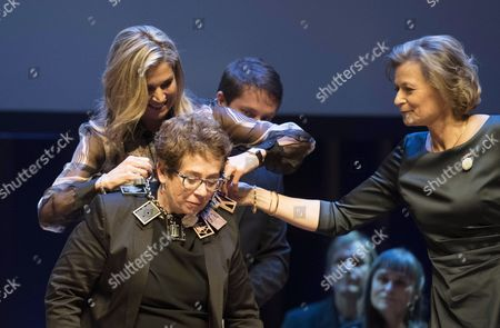 Stock Photo of Dutch Queen Maxima (l) Presents the Prins Bernhard Cultuurfonds 2016 (prince Bernhard Culture Fund) Award to Peruvian-dutch Documentarian Heddy Honigmann (c) During an Award Ceremony in Amsterdam the Netherlands 02 December 2015 the 150 000 Euro Prize is Awarded Annually to Recognise Persons Or Institutions who Have Made Extraordinary Voluntary Contributions to Dutch Cultural Life and the Environment Netherlands Amsterdam