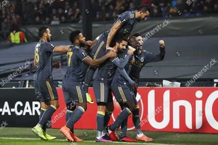 Fenerbahce Player Moussa Sow (2-r) Celebrates with Teammates After Scoring the 0-1 Against Feyenoord Rotterdam During the Uefa Europa League Match in Stadium De Kuip in Rotterdam the Netherlands 08 December 2016 Netherlands Rotterdam