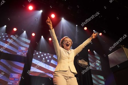 Dutch Minster of Culture Jet Bussemaker Opens Dressed As Hillary Clinton the President's Night in Amsterdam the Netherlands 08 November 2016 at the President's Night People Can Follow the Elections in the United States Americans Vote on Election Day to Choose the 45th President of the United States of America to Serve From 2017 Through 2020 Netherlands Amsterdam