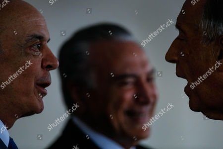 Brazilian President Michel Temer (c) Smiles Next to Brazilian Foreign Minister Jose Serra (l) and Portuguese President Marcelo Rebelo Sousa (r) During the Inauguration of the 11th Summit of the Community of Portuguese Language Countries (cplp) at Itamaray Palace in Brasilia Brazil 31 October 2016 Brazil Brasilia