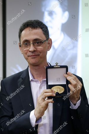 Stock Picture of Colombian Writer Pablo Montoya Receives the Ibero-american Letters Award Jose Donoso 2016 at the Talca University Facilities in Santiago Chile 09 November 2016 Chile Santiago