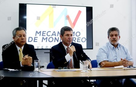 (l-r) Colombian Government Delegate Adm Orlando Romero Head of International Observers of the United Nations Mission in Colombia General Javier Perez Aquino and Delegate of the Farc-ep Marco Leon Calarca Participate in a Press Conference at the National Headquarters of the Tripartite Monitoring and Verification Mechanism (mm & V) in Bogotß Colombia 04 November 2016 the United Nations Mission in Colombia Representatives of the Government and the Farc Explained the Mm & V Colombia Bogotß