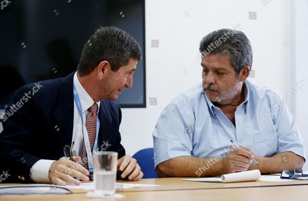Head of International Observers of the United Nations Mission in Colombia General Javier Perez Aquino (l) Talk to Delegate of the Farc-ep Marco Leon Calarca (r) During a Press Conference at the National Headquarters of the Tripartite Monitoring and Verification Mechanism (mm & V) in Bogotß Colombia 04 November 2016 the United Nations Mission in Colombia Representatives of the Government and the Farc Explained the Mm & V Colombia Bogotß