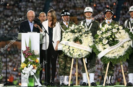 Brazil's Foreign Minister Jose Serra (l) Speaks During an Event Commemorating the Victims of a Plane Crash in Medellin Colombia 30 November 2016 Thousands of People Gathered at Atanasio Girardot Stadium in Medellin to Pay Tribute to Players of the Brazilian Soccer Club Chapecoense who Died when an Aircraft Crashed Late 28 November 2016 with 77 People on Board Six People Survived the Incident the Plane Crashed in a Mountainous Area Outside Medellin Colombia As It was Approaching the Jose Maria Cordoba Airport the Chapecoense Were Scheduled to Play in the Copa Sudamericana Final Against Medellin's Atletico Nacional on 30 November 2016 Colombia Medellin