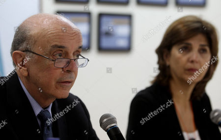 Brazil's Foreign Minister Jose Serra (l) Speaks Next to His Colombian Counterpart Maria Angela Holguin (r) During a Press Conference at the Air Base of Rionegro Antioquia Colmbia 30 November 2016 71 People Died when an Aircraft Crashed Late 28 November 2016 with 77 People on Board Including Players of the Brazilian Soccer Club Chapecoense the Plane Crashed in a Mountainous Area Outside Medellin Colombia As It was Approaching the Jose Maria Cordoba Airport Chapecoense Were Scheduled to Play in the Copa Sudamericana Final Against Medellin's Atletico Nacional on 30 November 2016 Colombia Rionegro