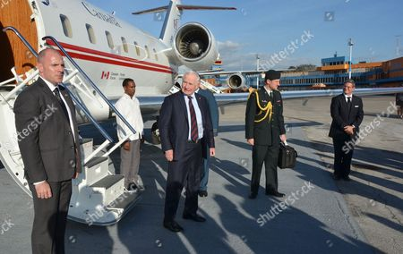 Stock Photo of General Governor of Canada Sr David Lloyd Johnston (c) Arrives to Havana Cuba 29 November 2016 to Attend the Funeral of Cuba's Former President Fidel Castro the Last Farewell of International Dignataries and Heads of State to the Revolution Leader Will Be Celebrated at the Revolution Square Later Today Castro Died on 25 November at Age 90 Cuba Havana