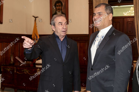 Ecuador's President Rafael Correa (r) Talks to Spanish Singer Jose Luis Perales (l) Before Awarding Perales with the National Order of Merit at the Government Palace in Quito Ecuador 28 October 2016 Ecuador Quito