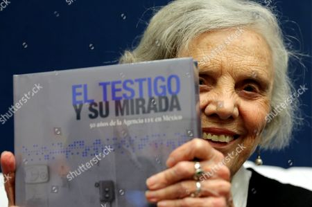 The Mexican Writter Elena Poniatowska Poses with the Book of the First 50 Year of the Efe Agency in Mexico 'El Testigo Y Su Mirada' During the International Book Fair of Guadalajara (fil) in Guadalajara Mexico on 01 December 2016 Mexico Guadalajara