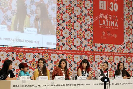 Stock Photo of The Winners of the 'Booktubers' Contest (l-r) Abril G Karera Marco Antonio Lopez Claudia Ramirez Regina Guerrero Jimena Jurado Paulina Trevino and Rosie Gardel Attend a Talk at the 30th Guadalajara International Book Fair in Guadalajara Mexico 01 December 2016 'We Are Booktubers' was a Contest with 78 Participants to Upload on the Youtube Site a Resume of Books Written by Latin American Authors Mexico Guadalajara