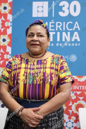 Stock Image of Guatemalan Indigenous Leader and 1992 Nobel Prize Winner Rigoberta Mench· Talks During a Press Conference During Her Participation at the Guadalajara International Book Far (fil) in Guadalajara Mexico on 28 November 2016 Mexico Guadalajara