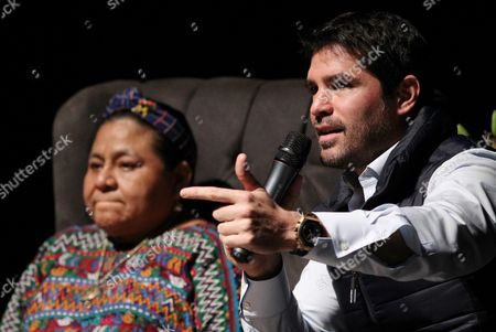 Guatemalan Peace Nobel Awarded Rigoberta Menchu (l) and Mexican Actor Eduardo Verastegui (r) Attend a Press Conference in Guadalajara Mexico 30 November 2016 During the 30 Guadalajara International Book Fair Menchu and Verastegui Have Presented a Campaign Called 'Una Cruzada Por La Paz (a Crusade For Peace)' Mexico Guadalajara