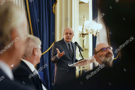 Brazilian Foreign Minister Jose Serra (c) Delivers a Speech During the Dinner Organized by the Spain-brazil Council Foundation Held at the Hotel Ritz in Madrid Spain 22 November 2016 Spain Madrid