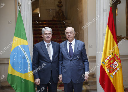 Spanish Foreign Minister Alfonso Dastis (l) and His Brazilian Counterpart Jose Serra (r) Pose Before a Press Conference After Their Meeting Held at the Santa Cruz Palace in Madrid Spain 23 November 2016 Spain Madrid