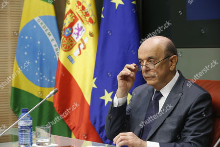 Brazilian Foreign Minister Jose Serra and His Spanish Counterpart Alfonso Dastis (not Pictured) Offer a Press Conference After Their Meeting Held at the Santa Cruz Palace in Madrid Spain 23 November 2016 Spain Madrid