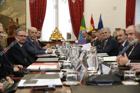 Spanish Foreign Minister Alfonso Dastis (4-r) with His Brazilian Counterpart Jose Serra (3-l) Before a Meeting Held at the Santa Cruz Palace in Madrid Spain 23 November 2016 Spain Madrid