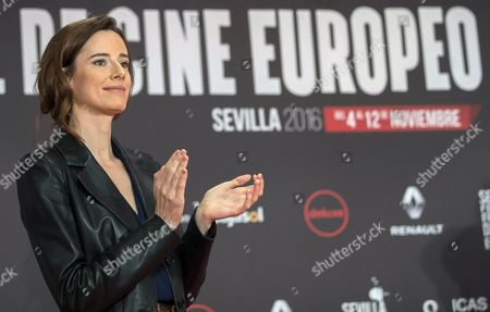 Stock Photo of Spanish Actress Pilar Lopez De Ayala a Jury Member of Seville European Film Festival (seff) Applauds After Festival's Director Jose Luis Cienfuegos Announced That French Film 'Ma Loute' Directed by Bruno Dumont Won the Golden Giraldillo Award of Seville European Film Festival in Seville Southern Spain 12 November 2016 the Festival Runs From 04 to 12 November Spain Seville