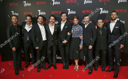 (l-r) Actor Juan Maine Argentinian Musician Federico Jusid Producer Cristian Conti Spanish Actor Paco Leon Spanish Film Director Roger Gual Colombian Actress Juana Acosta Spanish Actors Alex Brendemuhl Manuel Moron and Colombian Actor Juan Pablo Raba Pose For a Photo During the Premiere of the Film '7 Anos' (7 Years) in Madrid 27 October 2016 the Movie is the First Spanish Production in the Netflix Cloud Platform Spain Madrid