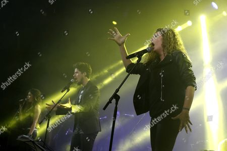 Children of Deceased Flamenco Singer Enrique Morente (l-r) Solea Jose Enrique and Estrella Perform on Stage During the 20th Anniversary of the Album 'Omega' Recorded by Their Father with Spanish Band 'Lagartija Nick' at La Riviera Auditorium in Madrid Spain 2 December 2016 Enrique Morente Died in 2010 at the Age of 67 Spain Madrid