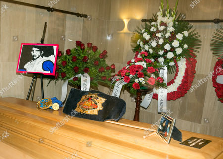 View of the Spanish Late Boxer Perico Fernandez's Champion Belt of 1974 During His Wake in Zaragoza Spain on 11 November 2016 World Champion Welterweight 1974 (wbc) Pedro Fernandez Castillejos Aka 'Perico Fernandez' Died on 11 November 2016 in a Social Services Center in Zaragoza where He Has Lived Several Years As He Lived in Poverty Spain Zaragoza