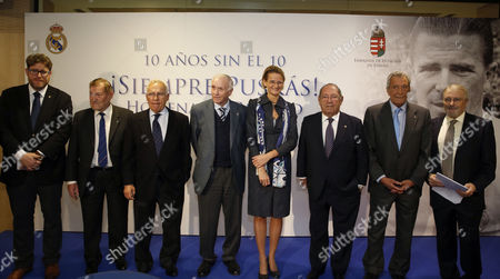 From Left to Right: Ferenc Puskas' Foundation's President Gyorgy Szollisi Former Head Coach Jose Toth-zele Former Real Madrid Players Amancio Amaro and Jose Emilio Santamaria Hungarian Ambassador in Spain Eniko Gyori Real Madrid's Honour President Francisco Gento Real Madrid Former Player Enrique Perez Diaz 'Pachin' and Journalust Julio Cesar Iglesias Attend the Tribute For the Legend Soccer Player Ferenc Puskas Held at the Honour Box of Santiago Bernabeu's Stadium in Madrid Spain on 14 November 2016 on the Occasion of the Tenth Anniversary of His Death Puskas (1927-2006) who is Considered One of the Best Players of All Times Came to Real Madrid in 1958 and Stayed During Eight Seasons Winning Three Champions League Titles Spain Madrid