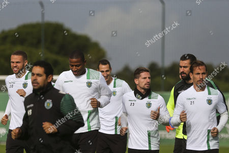 Sporting's Castaignos (l) Zeegelaar (3l) Adrien Silva (3r) Rui Patricio (2r) and Joao Pereira (r) in Action During a Training Session in Alcochete Portugal 21 November 2016 Sporting Will Face Real Madrid in an Uefa Champions League Group F Soccer Match on 22 November Portugal Alcochete
