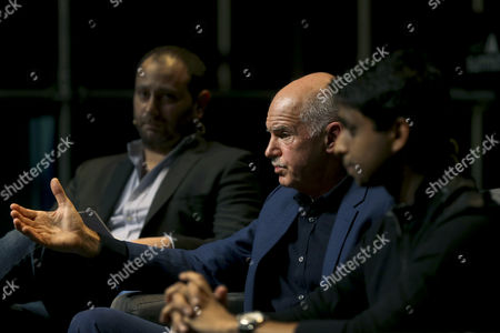 Former Greek Prime Minister George Papandreou (c) Speaks During the Third Day of the Web Summit in Lisbon Portugal 09 November 2016 the Web Summit Runs From 07 Until 10 November 2016 Portugal Lisbon