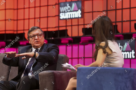 Former Eu Commission President and Non-executive Chairman at Goldman Sachs International Jose Manuel Barroso (l) Attends a Debate During the Second Day of the Web Summit in Lisbon Portugal 08 November 2016 the Web Summit Runs From 07 Until 10 November 2016 Portugal Lisbon