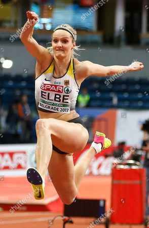Germany's Jenny Elbe makes an attempt in the women's triple jump qualification during the European Athletics Indoor Championships in Belgrade, Serbia