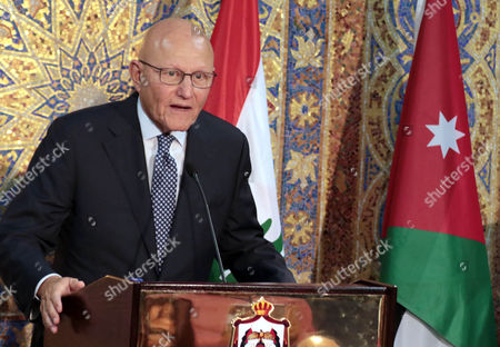 Lebanese Prime Minister Tamam Salam Speaks During a Joint Press Conference with His Jordanian Counterpart Abdullah Ensour (not Pictured) in Amman Jordan 12 August 2015 Ensour and Salam Discussed the Latest Developments in the Middle East Especially the Impact of the Syrian Crisis on the Two Countries Jordan Amman