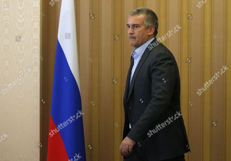 Head of the Republic of Crimea Sergey Aksyonov Pass by Ruusian Flag in a Building of the Crimean Cabinet of Ministers in Simferopol at Crimea 07 July 2016 Russian Federation Kerch