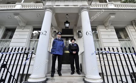 Policemen Stand Guard Outside the Home of Eva Rausing in London Britain 10 July 2012 One of the Britain's Wealthiest Women was Found Dead at Her Home in London on 10 July Her Death is Being Treated As Unexplained Eva Rausing was a Member of the Family Behind the Tetra-pak Drink Cartons Empire United Kingdom London