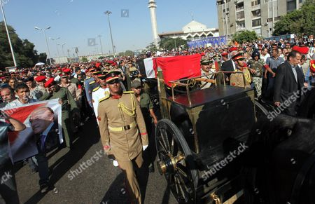 Egyptian Military Personnel March Next to the Coffin of Former Intelligence Chief and Vice-president of Former Egyptian President Hosni Mubarak Omar Suleiman During His Funeral in Cairo Egypt 21 July 2012 Souleiman Has Died in a Us Hospital on 19 July 2012 Egypt Cairo