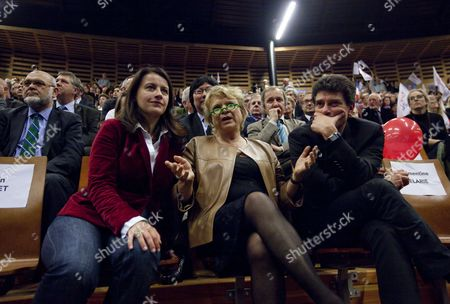 Europe-ecology Green Party Secretary Cecile Duflot (l) and Former Presidential Green Party Eva Joly (c) Attend French Socialist Party (ps) Candidate For the 2012 French Presidential Election Francois Hollande's Campaign Rally in Limoges Central France 27 April 2012 France Limoges