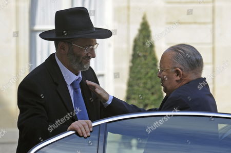 The Great Rabbi of France Gilles Bernheim (l) Greets Paris Mosque Rector Dalil Boubakeur (r) Before Their Meeting with French President Nicolas Sarkozy (not Pictured) at the Elysee Palace France 20 March 2012 a Gunman on a Motorbike on 19 March Had Shot Dead Four People at the Jewish Ozar Hatorah School in Toulouse Including a Father and His Two Daughters France Paris