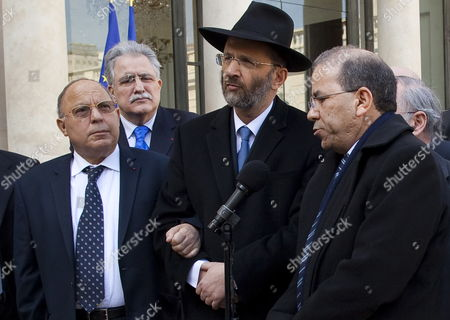 The Great Rabbi of France Gilles Bernheim (c) Paris Mosque Rector Dalil Boubakeur (l) and President of the Representative Council of France's Jewish Associations (crif) Richard Prasquier (r) Speak to Media After Their Meeting with French President Nicolas Sarkozy (not Pictured) at the Elysee Palace France 21 March 2012 a Police Raid is Currently Being Carried out on a House to Arrest a Suspect who Allegedly Killed Children and a Rabbi on 19 March 2012 at 'Ozar Hatorah' Jewish School in Toulouse France 21 March 2012 Media Reports State That at Lease Two Police Officers Were Injured in the Raid France Paris