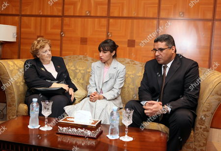 Libyan Interior Minister Fawzi Abdelali (r) Meets with His Italian Counterpart Anna Maria Cancellieri (l) in Tripoli Libya 03 April 2012 Media Reports State Cancellieri Arrived in Tripoli For Talks with Libyan Officials That Will Focus on Migration Issues and Cooperation in the Field According to the Un Refugee Agency Unhcr Figures Some 60 Thousand Migrants Landed in Italy Last Year Most of Them Arriving From Libya Libyan Arab Jamahiriya Tripoli