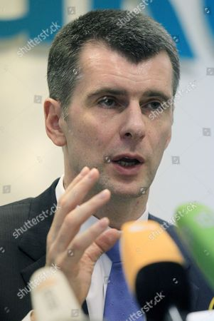 Russian Businessman Mikhail Prokhorov Speaks During a News Conference to Announce the Creation of an Non-typical Party in Moscow Russia 04 June 2012 His New Project is a 'Civil Platform' Party Intended to Be a Party of Wide Range of Civil Society the Party Will Have Only 500 Members - Professional Lawyers Giving Support For the Most Clever Civil Activists Prokhorov was Reported not to Reject For Himself the Idea to Take Part in Moscow's Mayoral Elections Russian Federation Moscow
