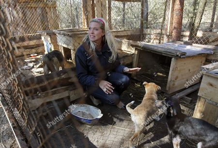Princess Maja Von Hohenzollern (r) Ambassador and Spokeswoman For the European Animal and Nature Protection Group (etn) Speaks During Her Visit to the 'Sirius' Animal Protection Shelter in Tolokun Village Some 80 Km of Kiev Ukraine 11 April 2012 Maja Von Hohenzollern Arrived in Ukraine to Deliver Two Field Kitchens to a Local Animal Protection Shelter and to Draw Attention to an Allegedly Ongoing Government Programme to Destroy Stray Dogs in Connection with the Euro 2012 Football Championship Ukraine Kiev