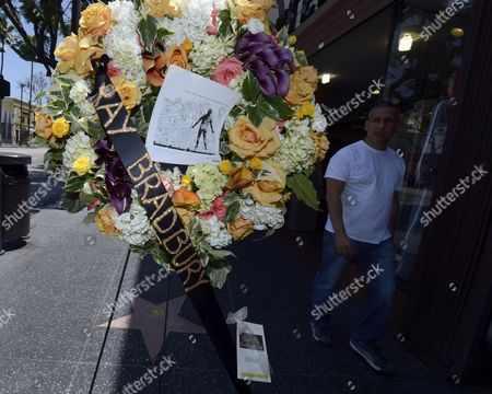 A Flyer For the Film 'The Illustrated Man' Film Adorns a Wreath Placed on the Star of Us Writer Ray Bradbury on the Hollywood Walk of Fame in Hollywood California Usa 06 June 2012 Bradbury Died Last Night at the Age of 91 United States Hollywood