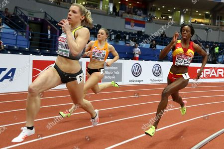 Germany's Lara Hoffmann (L), Netherlands' Lissane De Witte (C) and Spain's Lorena Bokesa (R) compete in the Women's 400m Semifinals, heat 2,  at the European Athletics Indoor Championships in Belgrade, Serbia, 03 March 2017.