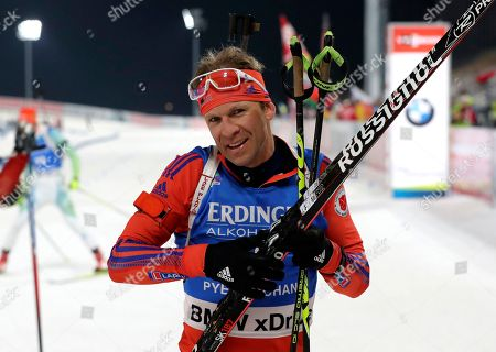 Second placed Lowell Bailey of the U.S. leaves after finishing the men's 10 km sprint competition at the Alpensia Biathlon Centre in Pyeongchang, South Korea