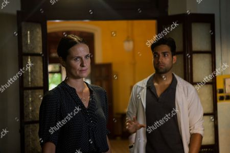Leanne Best as Debbie Smart and James Floyd as Dr Gabriel Varma