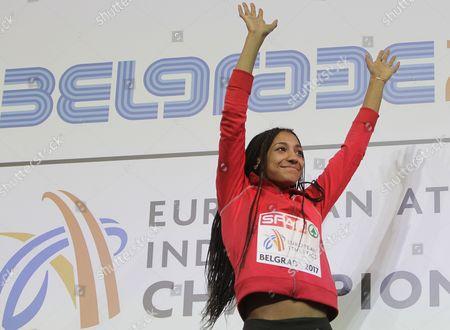 Gold medal winner Thiam Nafissatou of Belgium celebrates during the Women's pentathlon medal ceremony at the European Athletics Indoor Championships in Belgrade, Serbia, 03 March 2017.
