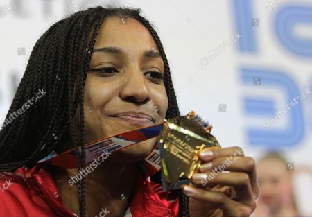 Stock Photo of Gold medal winner Thiam Nafissatou of Belgium celebrates during the Women's pentathlon medal ceremony at the European Athletics Indoor Championships in Belgrade, Serbia, 03 March 2017.
