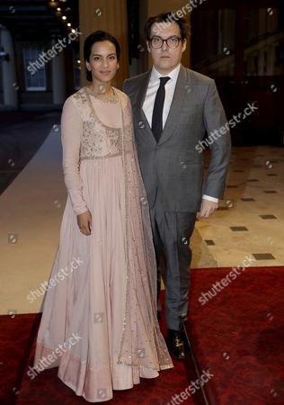 Indian sitar player Anoushka Shankar, left and her husband British director Joe Wright