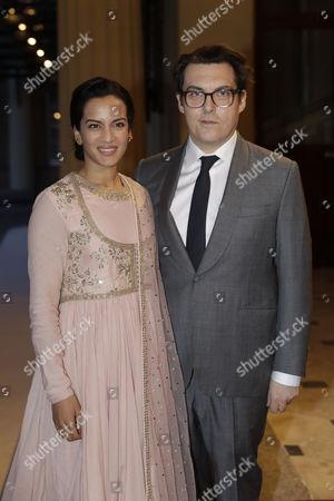 Indian sitar player Anoushka Shankar and her husband British director Joe Wright